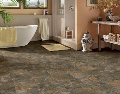 Trafficmaster 12 In X 12 In Dark Grey Slate Peel And Stick Vinyl Tile 30 Sq Ft Case A4260051 Vinyl Tile Slate Bathroom Floor Gray Wood Tile Flooring