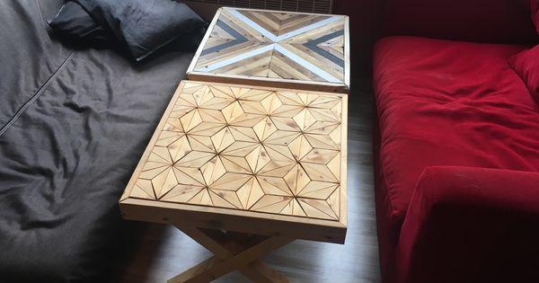 Table Ikea Customiser En Bois De Palette Motifs Bois Chevrons Cube Sans Fonds Marqueterie Decor Home Decor Cube
