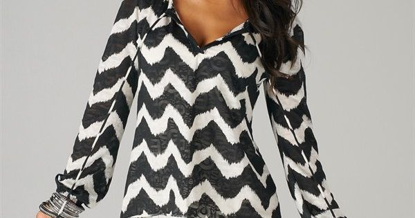Cute top! Black and White Chevron Style Tie Blouse-
