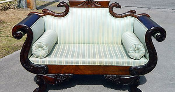 Exceptional solid mahogany empire sofa settee with carved for Antique chaise lounge perth