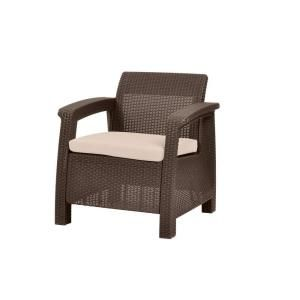 Keter Corfu Brown All Weather Resin Patio Armchair With Tan Cushions 214769 Lounge Chair Outdoor Patio Lounge Chairs Outdoor Armchair