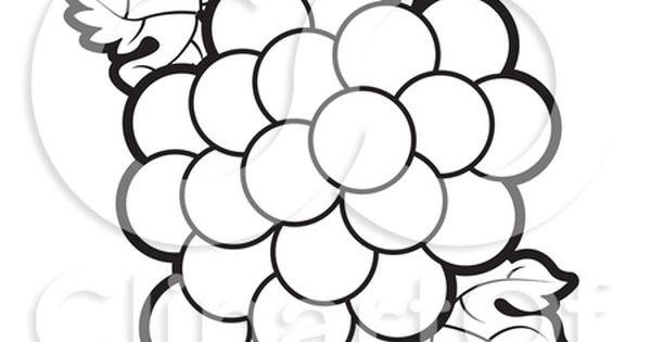 Coloring Page Outline Of A Bunch Of Grapes And Leaves Posters