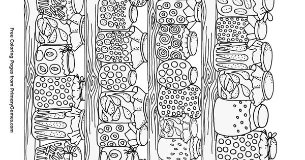 Fall Coloring Page Canning Jars With Food Free Printable Coloring
