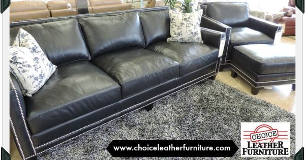 Slate Blue Leather Sofa And Chair With Silver Nail Head