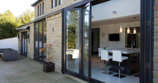 baie vitr e coulissante coulissante empilable en aluminium double vitrage kitchen. Black Bedroom Furniture Sets. Home Design Ideas