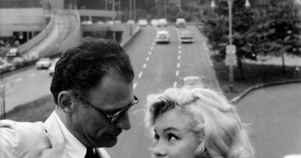 NYC. Manhattan. Marilyn Monroe and Arthur Miller at the E63rd. Street pedestrian