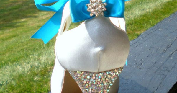 Blue wedding shoes, Blue Ribbon Swarovski High Heels, Wedding Bridal pumps, Tinkerbell