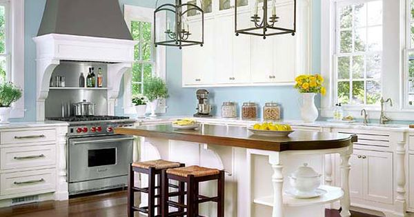 White cabinets, pale blue walls (although I would choose mint or an