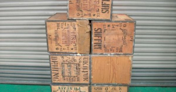 7x Used Tea Chest Storage Moving Boxes Packing Crates