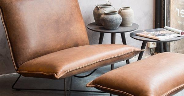 Lederen lounge zitbank met voetenbank idee n voor het huis pinterest nooks ottomans and - Rechthoekige lederen pouf ...