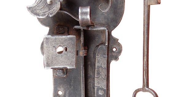 Gorgeous 18th century wrought iron door latch and key for 18th key of the door