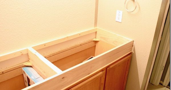 How To Raise Up A Short Vanity Pocket Hole Screws Stock Cabinets And Pocket Hole