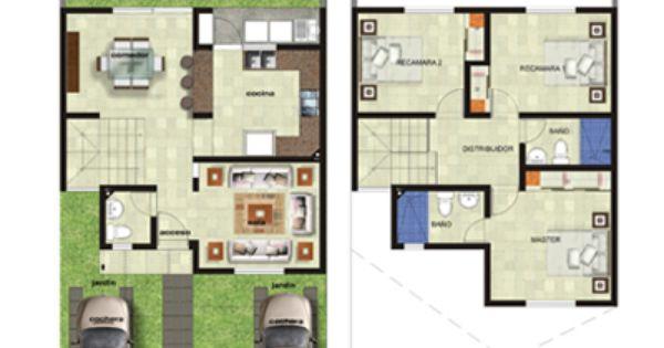 Plano casa dos plantas tres rec maras arquitectura y for Casa de dos plantas wifi