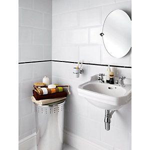 Wickes Bevelled Edge White Gloss Ceramic Wall Tile 300 X 200mm