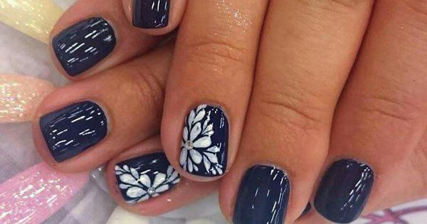 Navy Blue And White Flower Nails Pinterest White Flowers Blue And White And Blue And