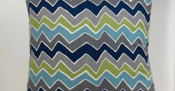 Grey, Navy blue and green Zig Zag Chevron decorative throw pillow cover 18 x18 inches Accent ...