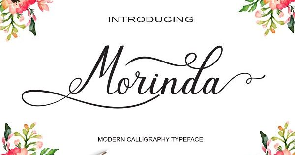 Morinda – stylish calligraphy font that perfect for signature, logos, wedding invitation