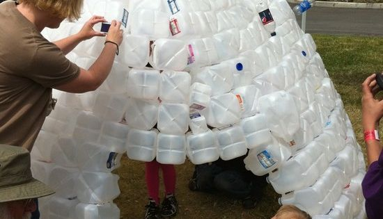 Holiday idea, reuse milk/water jugs made into an igloo.