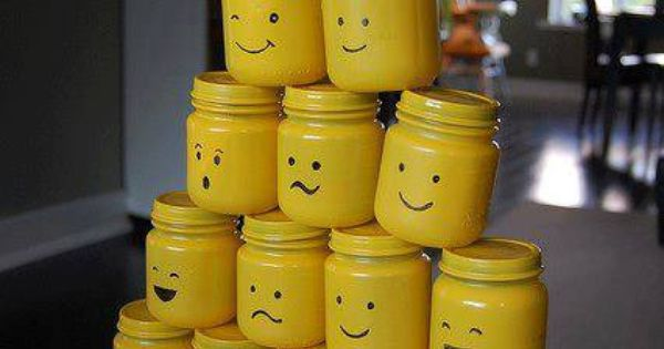 Lego Loot bag Idea- painted baby food jars. Cute little boy birthday