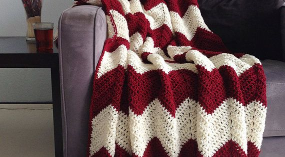 Christmas Blanket Crochet Chevron Afghan Burgundy Red And Cream Made To Order Home Decor