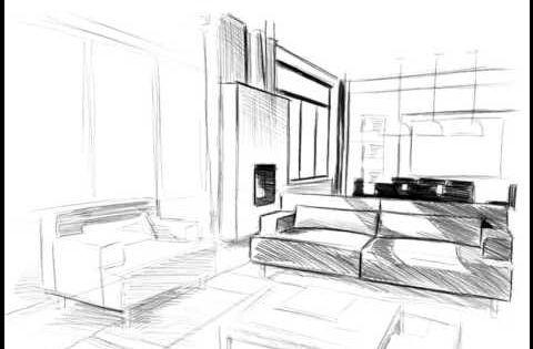 Perspective D Interieur 1 Point De Fuite Cuisine : Dessin de linterieur dune maison en perspective