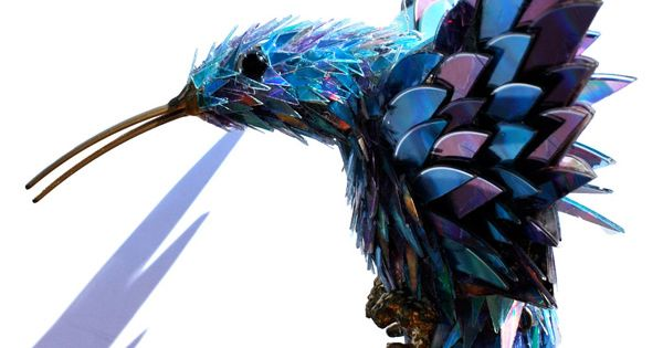 Bird sculpture made from shattered CDs by SeanAvery