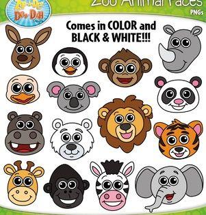 Zoo Animal Faces Clipart Zip A Dee Doo Dah Designs Animal Faces Zoo Animals Clip Art