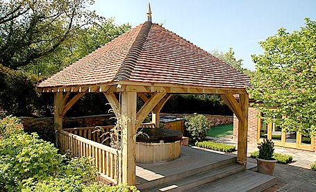Square Oak Gazebo For Use As Hot Tub Shelter Hot Tub Garden Hot Tub Outdoor Hot Tub Shelters