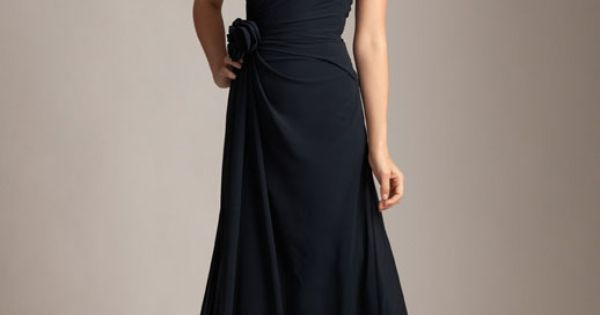 Buy cheap Discount Simple Elegant A-line One Shoulder Chiffon Floor Length Black