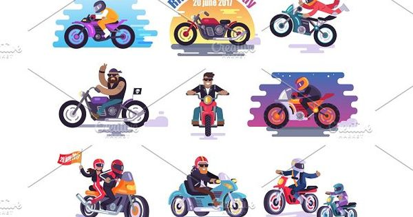 20 June 2017 Ride to Work Day Illustrations Set by robuart on @creativemarket