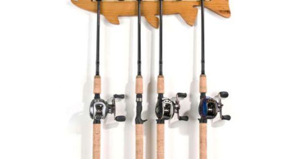Organized fishing 6 rod holder fish wall rack 447114 for Gander mountain fishing poles