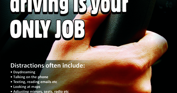 Workplace Safety Poster focussing on avoiding distractions