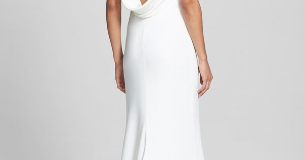 Draped Neck Silk Crepe Wedding Dress