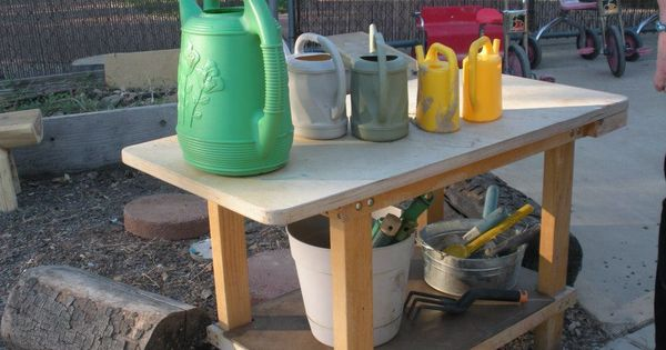 Dedicate an outdoor space to watering cans and gardening for Gardening tools preschool