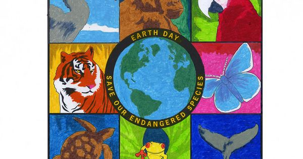 Earth day mural template featuring endangered animals for Earthrise mural