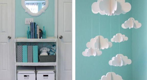 Aqua and gray chevron baby nursery featuring aqua walls and chevron accents