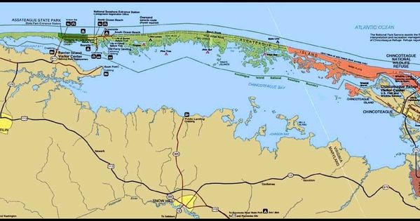 Assateague Island Map Assateague Island National Seashore Island Map Southern California Camping