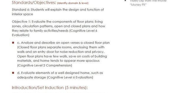 open vs closed floor plan lesson plan housing