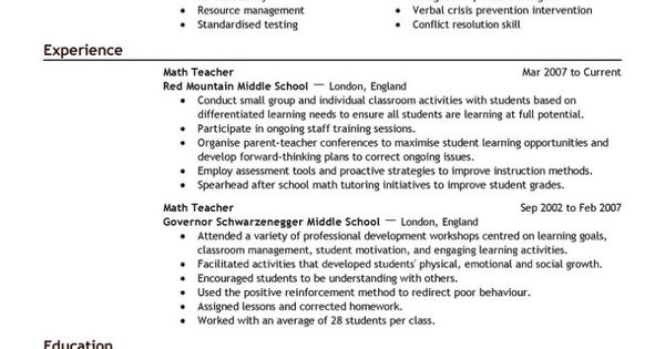 teacher resume examples are really great examples of resume and