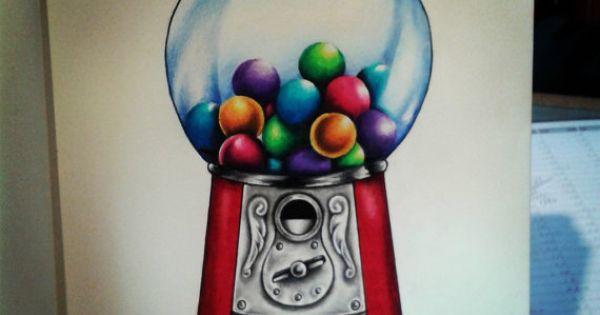 Original artwork print gumball machine tattoo art by for Zombie tattoo machine
