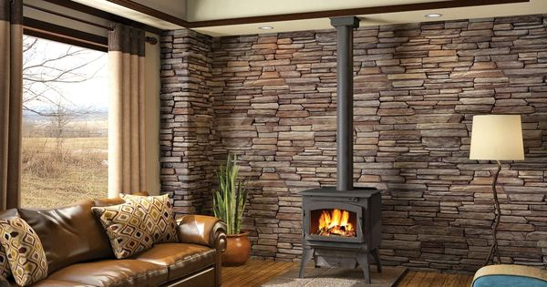 Wood Stove With Ledgestone Back Wall Living Room
