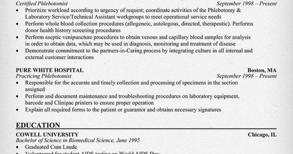 Phlebotomist Resume Sample Http Resumecompanion Com