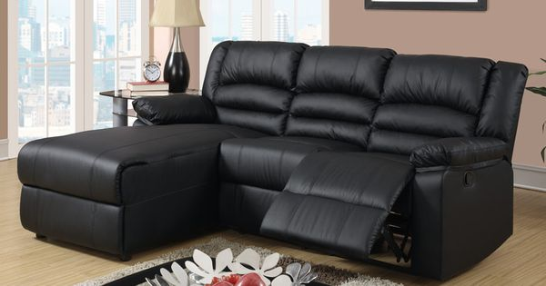 Small Black Leather Reclining Sectional Sofa Set Recliner Left Chaise Small Sectionals