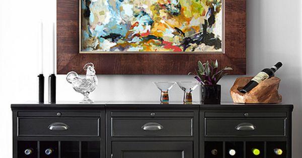 Black wine racks bar table by pottery barn contemporary for Pottery barn wine rack wood