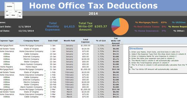 Home Office Tax Deductions 2017 Tracking Write Off Calculator Microsoft Excel Spreadsheet Instant Hjem Kontorer Og Hjemmekontor