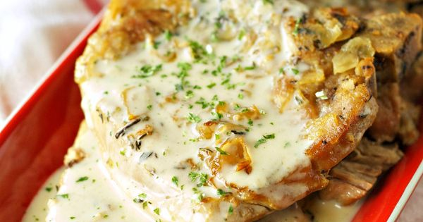 Crockpot Pork Chops with Creamy Herb Sauce. The sauce is fantastic...only because