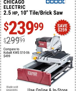 Chicago Electric 2 5 Hp 10 In Tile Brick Saw For 239 99