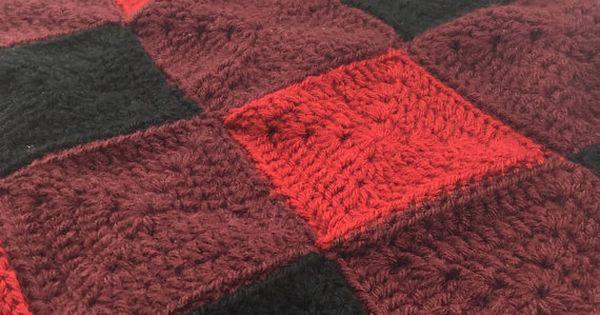 Red And Black Buffalo Plaid Handmade Crochet Baby Blanket