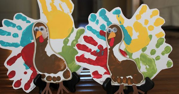 Kids craft- hand and foot print turkeys!