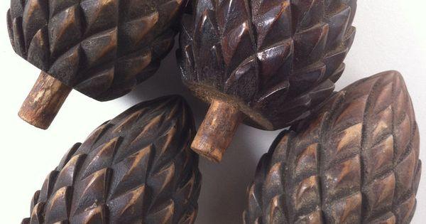 Set Of Four 4 Antique Mahogany Pinecone Pineapple
